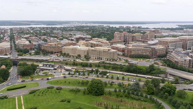 The skyline of Alexandria, VA, USA as seen from the George Washington Masonic Temple.