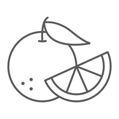 Orange fruit thin line icon, fruit and vitamin, juicy sign, vector graphics, a linear pattern on a white background, eps 10.