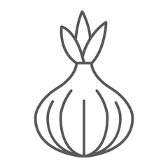 Onion thin line icon, vegetable and diet, vegetarian sign, vector graphics, a linear pattern on a white background, eps 10.
