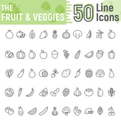 Fruit and Vegetables line icon set, vegetarian symbols collection, vector sketches, logo illustrations, healthy signs linear pictograms package isolated on white background, eps 10.