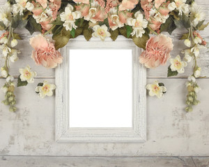 Flower Wreath Frame Mockup on Wood Background