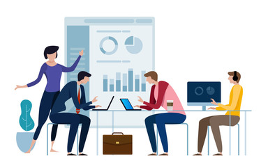 Corporate business manager explaining quarter report data to directors board. Working together achieving target. Financial results. Flat style vector illustration isolated on white.