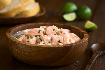 Chilean salmon ceviche prepared with onion, garlic, fresh coriander, salt and lemon juice, photographed with natural light (Selective Focus, Focus on the salmon pieces on the top of the ceviche)