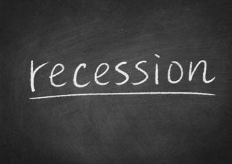 recession concept word on a blackboard background