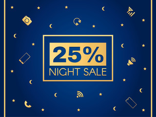 "Poster with inscription: ""night sale"" with gold letters on a blue background with stars and moon. Good for shops with seasonal discounts and advertising for magazines."