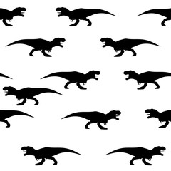 Seamless pattern of silhouettes of tyrannosaurs
