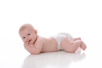 Smiling Baby Boy in Pajamas