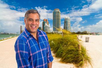 Handsome Hispanic man in Miami Beach