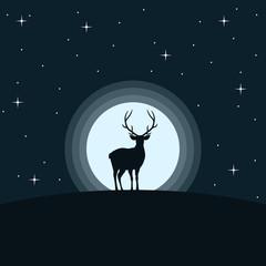 Deer. Moon. Vector,