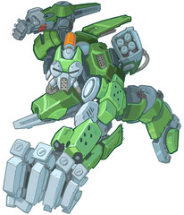 Humanoid Green Cartoon Soldier Robot Punching Illustration