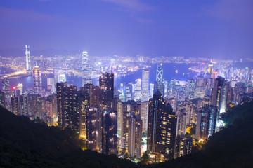 Hong Kong business city skyline at night.