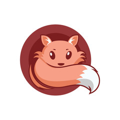 Cute Fox In Circle Logo Symbol Illustration