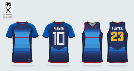 Blue jersey with red stripe sport shirt design template for soccer jersey, football kit and tank top for basketball jersey. Sport uniform in front and back view. T shirt mock up for sport club. Vector