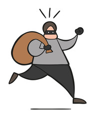Vector cartoon thief man with face masked running and carrying sack