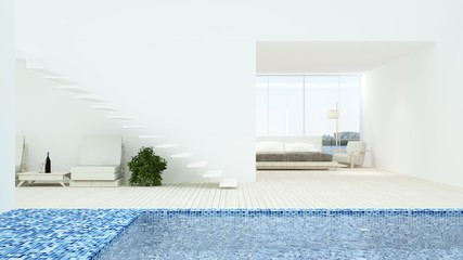 Wall Mural - The interior minimal hotel bedroom space swimming pool 3d rendering and nature view background