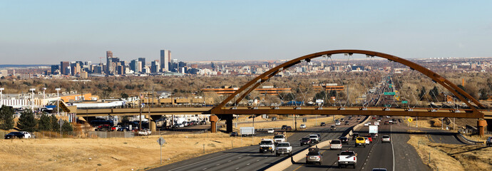A Public Transit Bridge Crosses the Highway outside of Denver Colorado