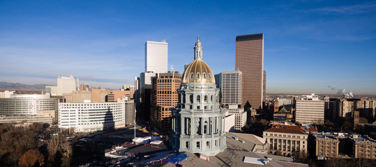 Late Afternoon Light Hits the Capital Building in Downtown Denver Colorado