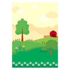 Poster Forest animals evening farms barn barnyard scenery landscape background