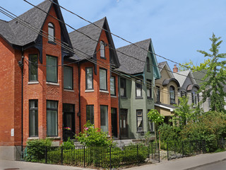 urban renewal, renovated Victorian houses with gables
