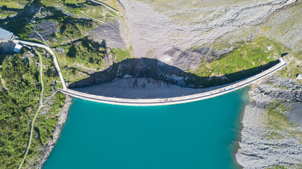 Garden Poster Dam Aerial view of the dam of the Lake Barbellino, an Alpine artificial lake. Italian Alps. Italy