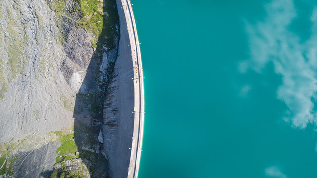 Aerial view of the dam of the Lake Barbellino, an Alpine artificial lake. Italian Alps. Italy
