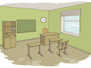 Classroom graphic color interior sketch illustration vector