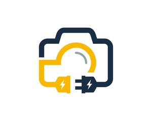 Camera Electric Logo Icon Design Element