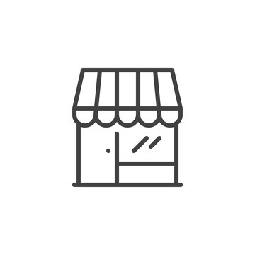 Store front outline icon. linear style sign for mobile concept and web design. Shop simple line vector icon. Market symbol, logo illustration. Pixel perfect vector graphics