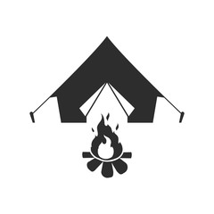 Tent and campfire. Vector.