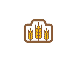 Photo Camera Wheat Logo Icon Design Element