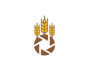 Camera Wheat Logo Icon Design Element
