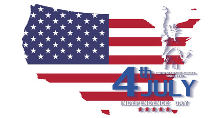 United States flag for Independence Day Holiday 4 July Greeting background.
