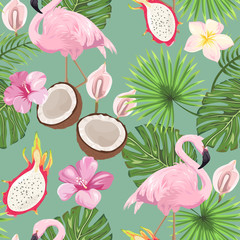 Seamless pattern with tropical flora and flamingos