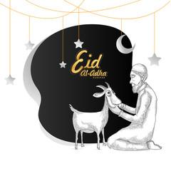 Eid-Al-Adha, Islamic festival of sacrifice concept with sketch of an Islamic man praying before sacrifice of goat.
