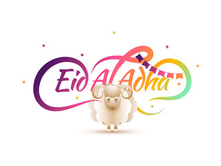 Islamic festival of sacrifice, Eid-Al-Adha greeting card design with golden mosque, sheep and hanging stars.