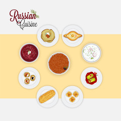 Top view of Russian Cuisine.