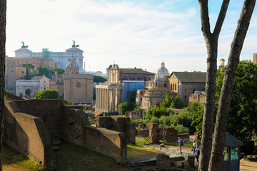 Old ruins of Roman Forum in Rome, Italy. Concept of ancient landmarks and historical places of Europe.