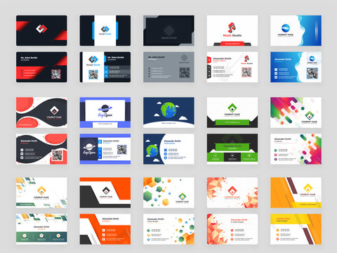 Collection of 15 horizontal Business card template design with front and back presentation.