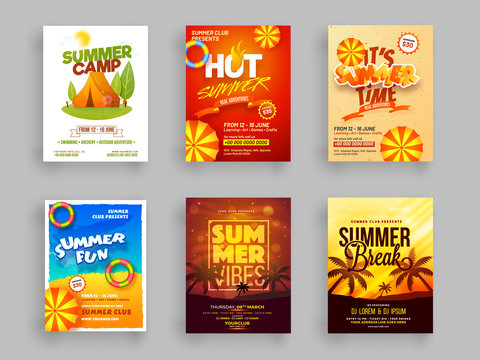 Set of Summer camp flyer or template design.