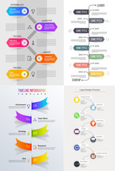 Multiple levels colorful Timeline Infographic set for Business concept.