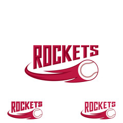 Rocket baseball logo for the team and the cup