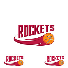 Rocket basketball logo for the team and the cup