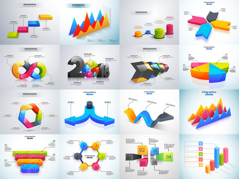3D colorful set of Infographic elements with statistics or workflow layout for Business or corporate sector.