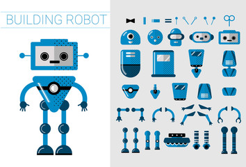 DIY Set of vector robots details in flat cartoon style. Cute Cartoon Robotic separate parts for creation of Artificial Intelligence Cartoon robots - Concept Flat Vector Illustration. Head, handsn and