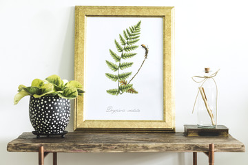 Stylish scandinavian composition of wooden console with gold mock up poster frame, beautiful plant and bottle. Modern composition of home interior.