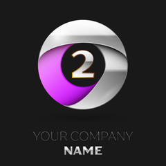 Realistic Silver Number Two logo symbol in the colorful silver-purple circle shape on black background. Vector template for your design