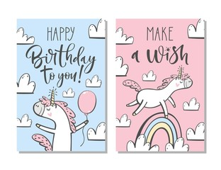 Cute birthday cards with unicorn, rainbow, clouds and hand written text.