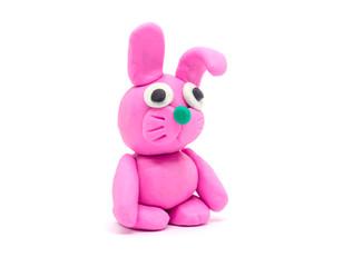 Play dough rabbit on white background