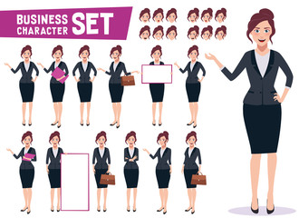 Business woman character vector set with young happy professional female office employee in different gestures and pose in white background. Vector illustration.