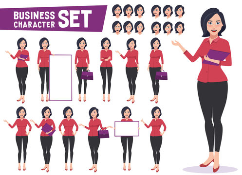 Business woman character vector set with professional young female employee or teacher standing in different gestures and pose for business presentation. Vector illustration.